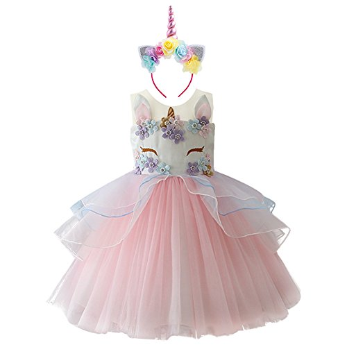 Girls Unicorn Tutu Dress Horn Headband Princess Fancy Dress up Costume 2Pcs Set Pageant Birthday Party Outfit Gifts for Kids Christmas Halloween Photo Shoot Cosplay Pink 5-6 -