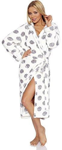 L&L Albornoz para Mujer con Capucha Darcy Long Blanco/Gris