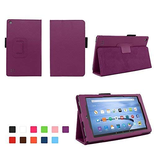 Case for Kindle Fire 7 (5th and 7th Generation) Inch Tablet - Folio Case with Stand for Kindle Fire 7 Inch Tablet (5th and 7th Generation) - Purple