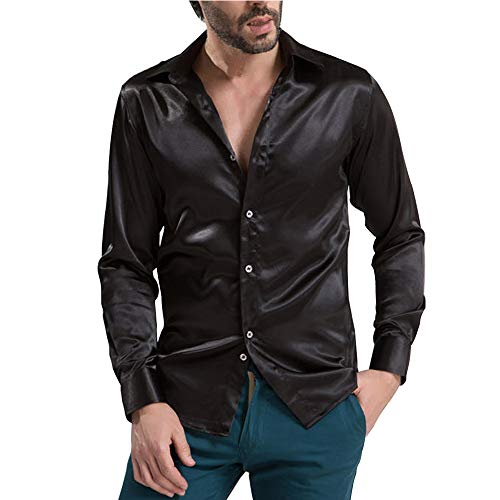 VICALLED Men's Satin Luxury Dress Shirt Slim Fit Silk Casual Dance Party Long Sleeve Fitted Wrinkle Free Tuxedo Shirts Black
