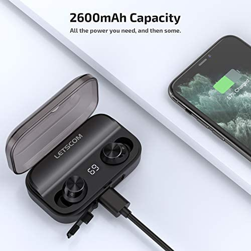 LETSCOM Wireless Earbuds, 100 Hours Playtime Waterproof Headphones with Wireless Charging Case, Bluetooth 5.0 HD Stereo Built-in Mic in-Ear Sports Earphones for Running Gym Home Office