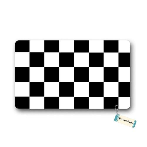 (FavorPlus Black White Checkered Print Indoor/Outdoor Decor Rug Doormat 30(L) X18(W) Inch Non-Slip Home Decor)