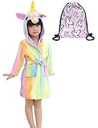 88fe1d99745 Unicorn Bathrobe Kid Flannel Hooded Robe Soft All Seasons Sleepwear Unisex  Loungewear Gift