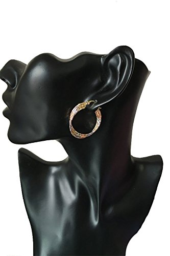 Juvel Jewelry Fine Gold Plated 3 Rings Multi Color Special Earrings Hoop for Birthday Gift by Juvel Jewelry (Image #2)