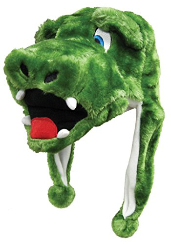 Alligator Critter Cap Plush Animal Hat with Ear Flaps That Button Under the (Super Troopers Halloween Costumes Bear)