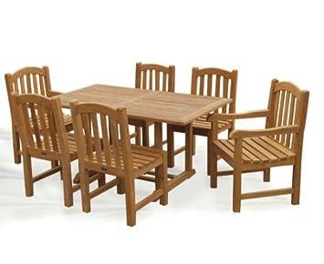 Victoria 7 Piece Teak Garden Dining Set Teak Wooden Garden Table