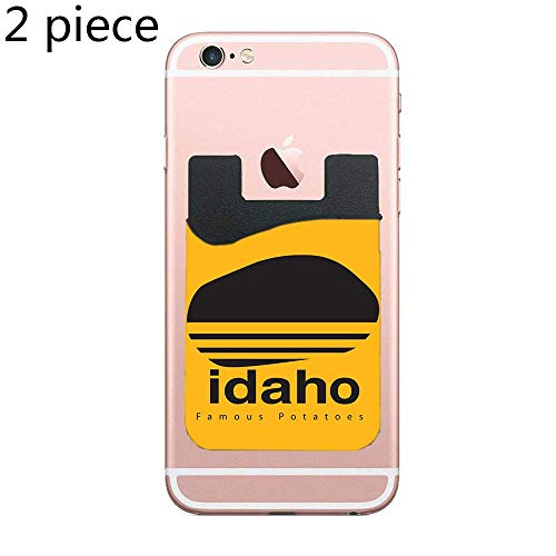 CardlyPhCardH Two Idaho Famous Potatoes Black Cell Phone Stick on Wallet Card Holder Phone Pocket for All Smartphones