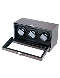 Hand Polished Ebony Triple Watch Winder W/Japanese Mabuchi Motor & Zargler Turntable.