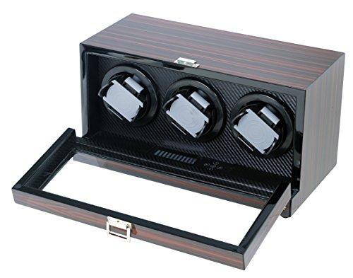 Hand Polished Ebony Triple Watch Winder W/Japanese Mabuchi Motor & Zargler Turntable.