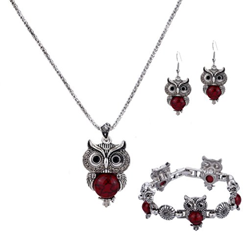 YAZILIND Jewelry Sets Vintage Pendant Necklace Red Owl Drop Earrings Bracelet Fashion for Women for $<!--$3.88-->