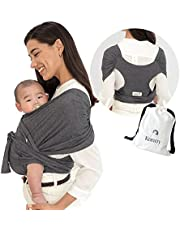 Konny Baby Carrier | Ultra-Lightweight, Hassle-Free Baby Wrap Sling | Newborns, Infants to 45 lbs Toddlers | Soft and Breathable Fabric | Sensible Sleep Solution (Black, 2XS)