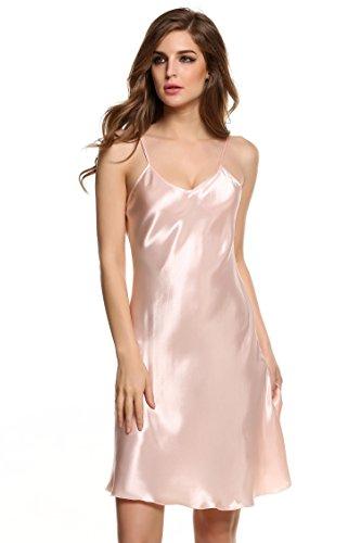 Exquisite Silk Dresses (Goodfans Women's Sexy V Neck Spaghetti Strap Silk Slip Dress Pink S)