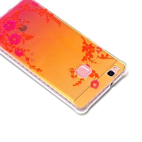 Silicona Funda Huawei P9 Lite(con Gratis Pantalla Protector),KaseHom Brillante Diamante Stylish Diseño Oro y Rojo Patrón de Combinación Caja Suave + Flexible TPU Gel Silicone Bumper Shock-Absorción An Jardín Secreto