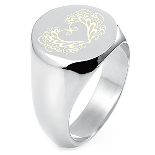 Filigree Flat (Sterling Silver Floral Filigree Heart Engraved Round Flat Top Polished Ring, Size 6)