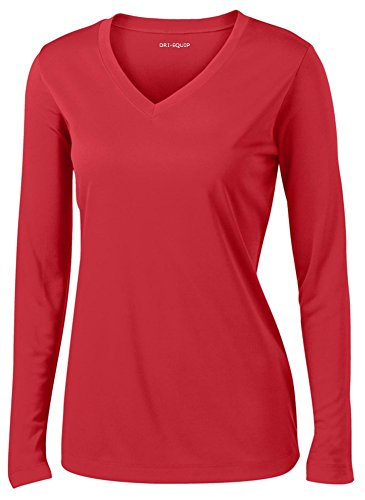 DRI-EQUIP(tm) - Ladies Long Sleeve Moisture Wicking Athletic Shirts, Red Medium ()