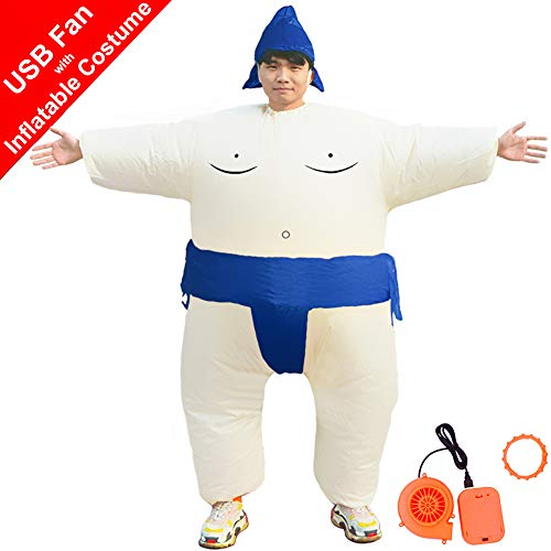 HUAYUARTS Men's Inflatable Costume Boys Giant Blow up Party Halloween Christmas Blue Sumo Cosplay ()