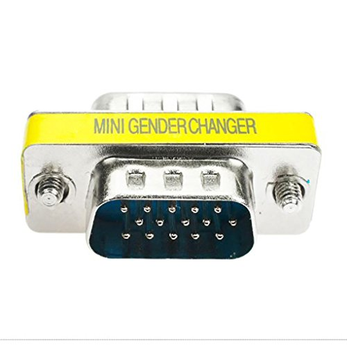 Hd15 Converter - Chezaa Adapter,VGA SVGA HD15 Gender Changer Coupler Adapter Converter 15 Pin (Yellow)