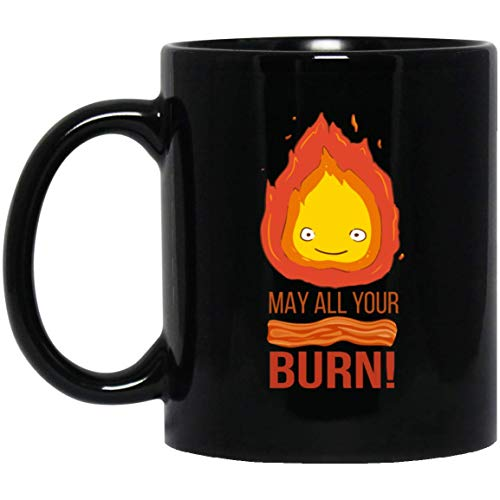 Calcifer May All Your Bacon Burn Howls Moving Castle Tea Mugs & Coffee Cups Black 11oz