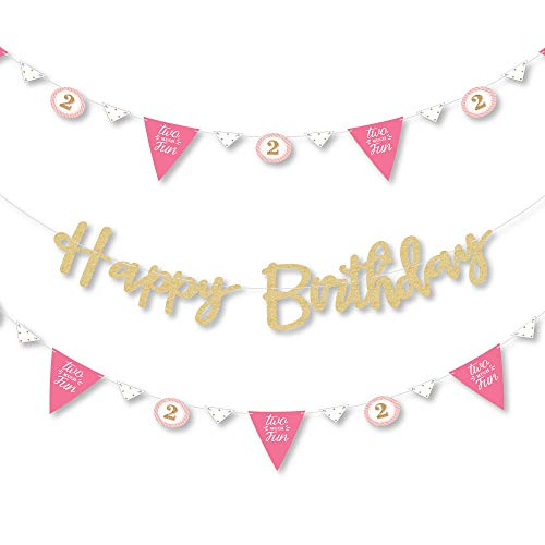 Big Dot of Happiness 2nd Birthday Girl - Two Much Fun - Second Birthday Party Letter Banner Decoration - 36 Banner Cutouts - No-Mess Real Gold Glitter Happy Birthday Banner Letters