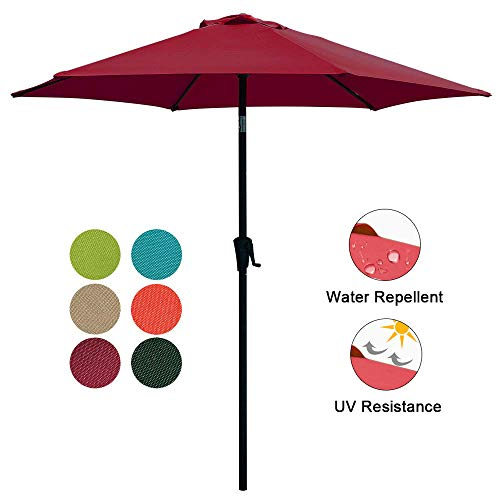 COBANA Patio Umbrella, 7.5' Outdoor Table Market Umbrella with Push Button Tilt/Crank, 6 Ribs, Dark Red ()