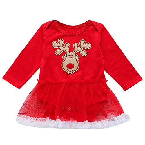 Girls Christmas Long Sleeve Casual Dress Toddler Reindeer Applique Dresses