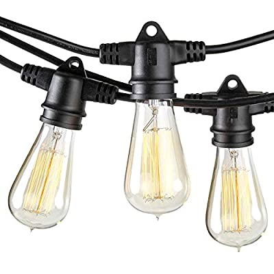 Brightech Ambience Pro Vintage Outdoor String Lights - 48 Ft Weatherproof Commercial Grade Edison Market Cafe Bistro Waterproof Light Strand for Patio Garden Porch Backyard Party Yard - Black