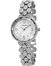 Swarovski Crystal Studded Women's Watch – Silver Link Bracelet Strap Small Round Polished Alloy Case Accents,Silver Dial - AK839SS