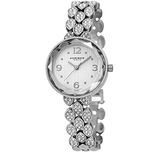 Akribos XXIV Swarovski Crystal Studded Women's Watch – Silver Link Bracelet Strap Small Round Polished Alloy Case Accents,Silver Dial - AK839SS ()