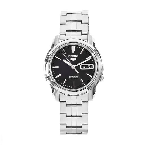 Seiko Men's SNKK71 5 Stainless Steel Black Dial Watch