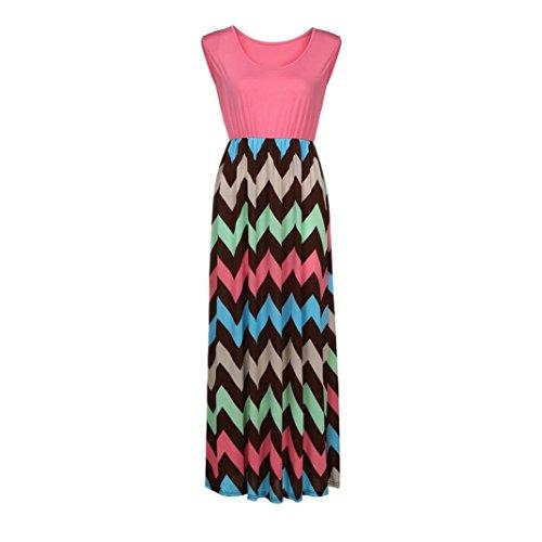 Ärmelloses Wavy Gestreift Nähen Kleid HARRYSTORE Damen Striped Long ...