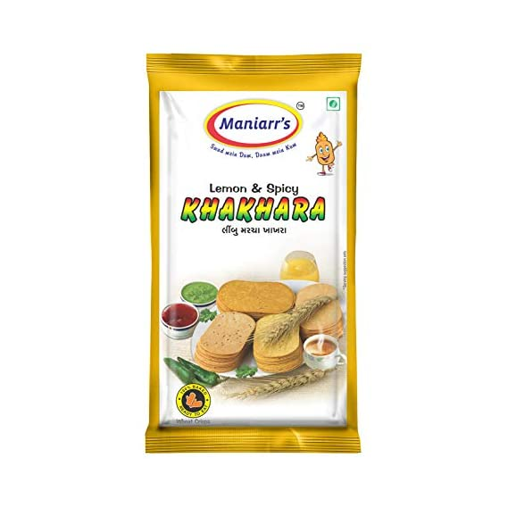 Maniarrs Lemon & Spicy Khakhra 8 Packs, Single Flavor, 360 Gms
