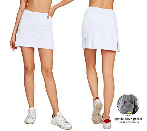 Skort Fitness Skirts - Cityoung Women's Casual Pleated Golf Skirt with Underneath Shorts Running Skortsl white1