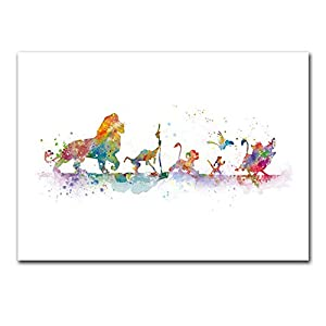 Wall Pictures Hd Lion King Poster Canvas Painting Watercolor Print Cartoon Art Nursery Kids Room Home Decor Nordic Style No Frame