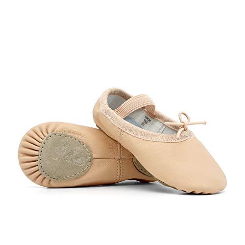 DANCEYOU Leather Split Sole Ballet Shoes/Slipper for Girls(Toddler/Little Kid/Big Kid),Pink,Big Kid 5M/230mm
