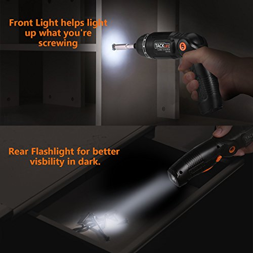 Electric Screwdriver,SDH13DC Cordless Rechargeable Screwdriver 3.6V 2.0Ah Lithium Ion Battery MAX Torque 4N.m, 3 Flexible Position and 6 Torque Setting, Front LED and Rear Flashlight by TACKLIFE (Image #4)
