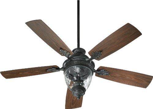 174525-995 Georgia 3-Light Patio Ceiling Fan with Clear Hammered Glass and Walnut ABS Blades, 52-Inch, Old World Finish ()