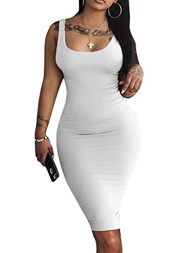 LAGSHIAN Women's Sexy Bodycon Tank Dress Sleeveless Basic Midi Club Dresses White