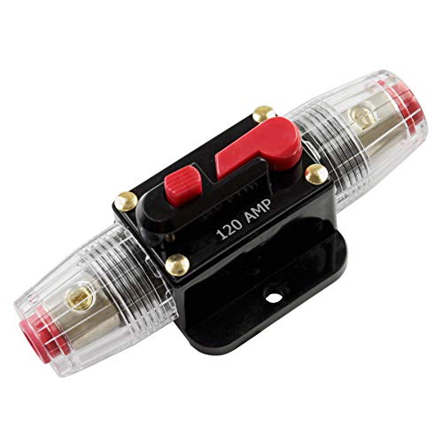 Car Stereo Audio 12V Circuit Breaker Fuse Inline Fits 4 8 Gauge Wire 120 Amp ()