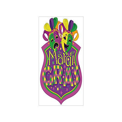 Decorative Privacy Window Film/Comedy and Tragedy Masks with Festive Mardi Gras Carnival Blazon Design Decorative/No-Glue Self Static Cling for Home Bedroom Bathroom Kitchen Office Decor Purple Green ()