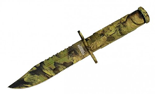 "8.5"" Defender Xtreme Woodland Camo Survival Knife with Sheath"