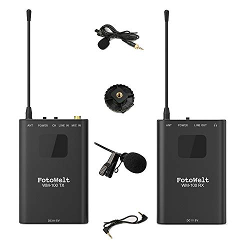 FotoWelt WM-100 Full Metal 4 Channels UHF Wireless Lavalier Microphone System Compatible for DSLR Camera,XLR Camcorder & Smartphone (Best Wireless Mics For Camcorders)