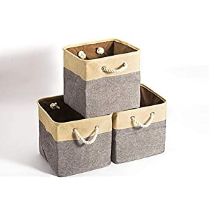 BBQ Future Set of 3 Collapsible Storage Bins Basket Foldable Canvas Fabric Tweed Storage Cubes Set with Handles for Babies Nursery Toys Organizer (Beige+Gray, 15″ x 11″ x 9″)