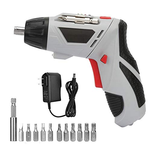 Cordless Electric Screwdriver kit,4.8V LED 300mAh 220R Rechargeable Electrical Screwdriver, 6mm Magnetic Chuck,with Screwdriver Bit,Portable 180 Degrees Anti-slip Handle Rotate Electric Screwdriver(A) ()