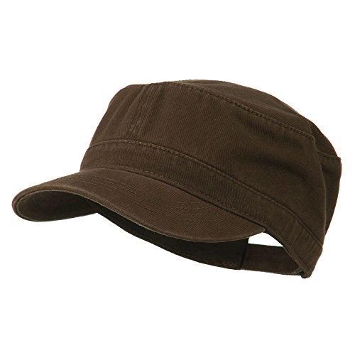 Garment Washed Adjustable Army Cap - Khaki