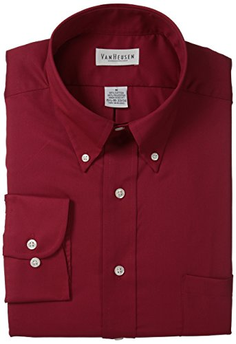 Wrinkle Shirt Van Heusen Free (Van Heusen Regular Fit Twill Solid Button Down Collar Dress Shirt, Scarlet, Large)