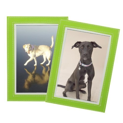 Green Photo Frame Magnet - Set of 2 Magnetic Photo Frame Sleeves - Leather Stitched Trim - Choose From Green or Blue Fridge Frame Color: Green