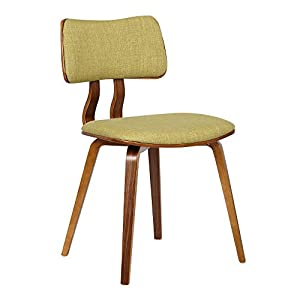 Armen Living Jaguar Dining Chair in Green Fabric and Walnut Wood Finish