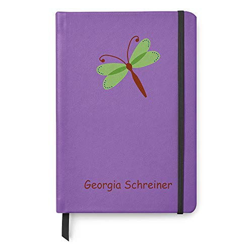 Personalized A5 Paper Leather Lined Notebook Dragonfly Journal Diary Gift - Purple Green (Dragon Leather Green)