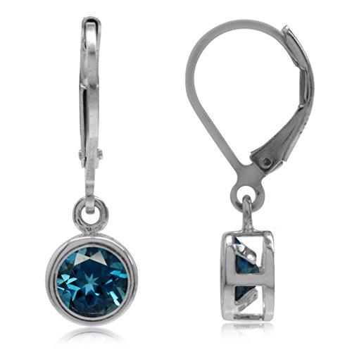- 6MM London Blue Topaz Bazel Set 925 Sterling Silver Dangle Leverback Earrings