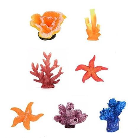MAXGOODS 7Pcs Planta Coral Artificial Mini Decoración Detalle Imitada para Pescado Acuario Tanque Adorno Decorativo Diseño Arrecife de Corales: Amazon.es: ...